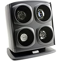 [ON SALE] Versa Quad Watch Winder in Black - Independently Controlled Settings - Multiple Direction and Timer Settings - Adjustable Watch Pillow - Plenty of Space for Large Watches