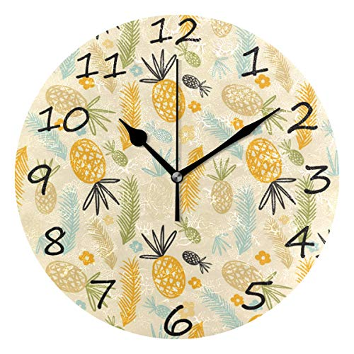 - Shiiny Wall Clock, Pineapple Pattern 9.8 Inch Easy to Read Colorful Battery Operated Clock,for Bedroom,Living Room,Kitchen,Office