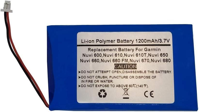 361-00019-02 Nuvi 670 D25292-0000 Nuvi 680,CS-IQN600SL Nuvi 660 Nuvi 610 Nuvi 660 FM Nuvi 650 3.7V//1200mAh Replace GPS Navigator Battery for Garmin Nuvi 600 Nuvi 610T