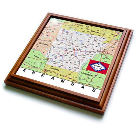 3dRose Lens Art by Florene - Topo Maps, Flags of States - Image of Arkansas Topo Map And State Flag - 8x8 Trivet with 6x6 ceramic tile (trv_291397_1)