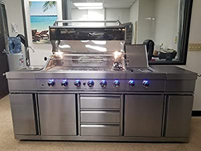 SDI Factory Direct 3 in 1 Stainless Steel Outdoor BBQ Kitchen Island Grill Propane LPG w/Sink, Side Burner, and Canvas Cover