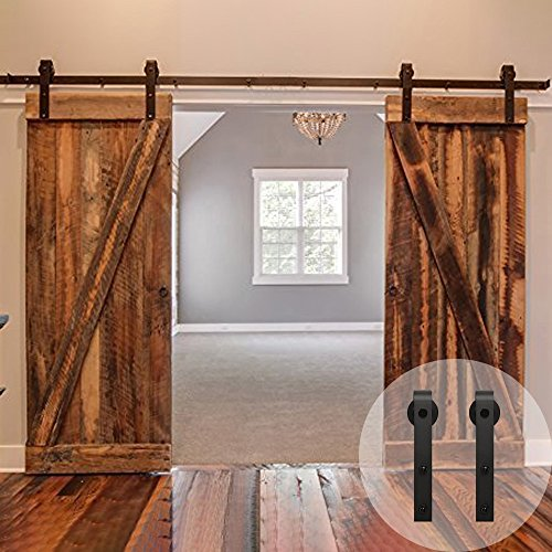 "WINSOON 5-18FT Sliding Barn Wood Door Hardware Cabinet Closet Kit Antique Style for Double Doors Black Surface (6FT /72"" 2 Doors Track Kit)"