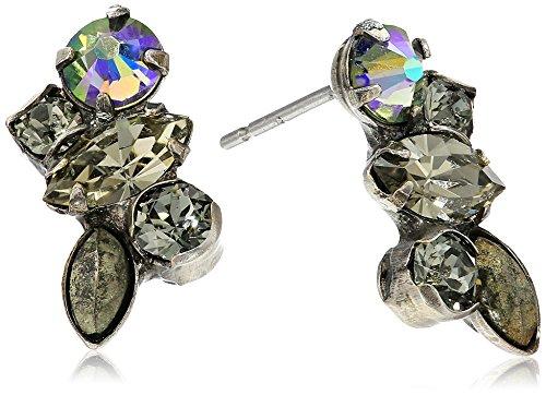- Sorrelli Core Antique Silver Tone Crystal Rock Petite Cluster Post Earrings