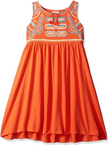 Crazy 8 Big Girls' Orng Embry Orange Embroidery Knit Dress