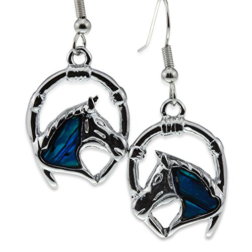 Silver Blue Abalone Paua Shell Horse Head Lucky Horseshoe Earrings Jewelry for Crazy Lover Girl (Horseshoe Horse Head)