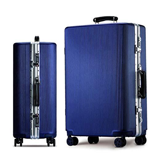 トロリーケース20インチ24インチスーツケースPCトランクユニバーサルホイール搭乗ケース (Color : 青, Size : 28 inches)   B07R1WL192