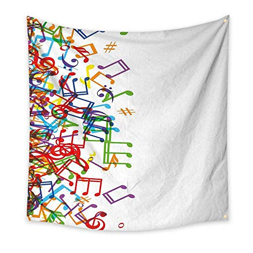 (Colorful Home Decor Bedroom Tapestry Trippy Style Music Notes with Clef Rhythm Tempo Melody Harmony Print Room Tapestry Multi White 55W x 55L)