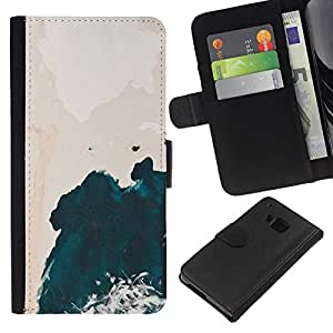 KLONGSHOP // Tirón de la caja Cartera de cuero con ranuras para tarjetas - Arte Wave Pink Sky Acuarela - HTC One M7 //