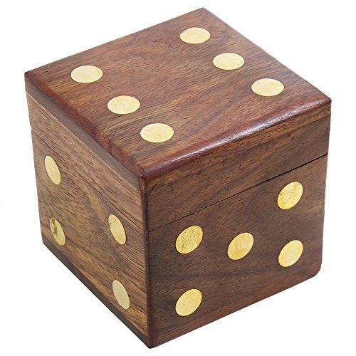 Dice Set Gift Box (SKAVIJ Wooden Handmade Square Dice Game Box with 5 Dice Set Gifts for Kids & Adults Dia- 2.5 Inch)