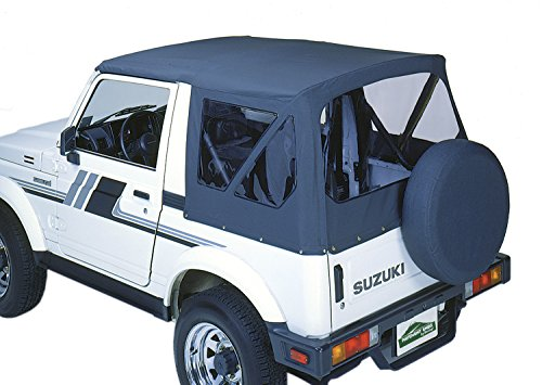 (Pavement Ends by Bestop 51133-15 Black Denim Replay Replacement Soft Top Clear Windows; No Door Skins Included for 1987-1995 Suzuki Samurai)