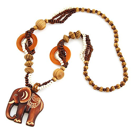 (Wed2BB Bohemian Vintage Ethnic Wood Elephant Pendant Long Sweater Chain Necklaces & Pendants for Women)