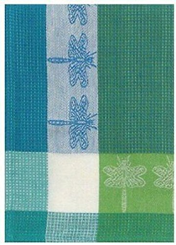 Traders and Company 100% Cotton Green & Blue 20''x28'' Dish Towel, Set of 6 - Dragonfly Turquoise by Traders and Company