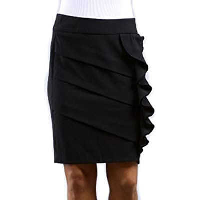 Above The Knee Tiered Ruffle Skirt at Amazon Women's Clothing store