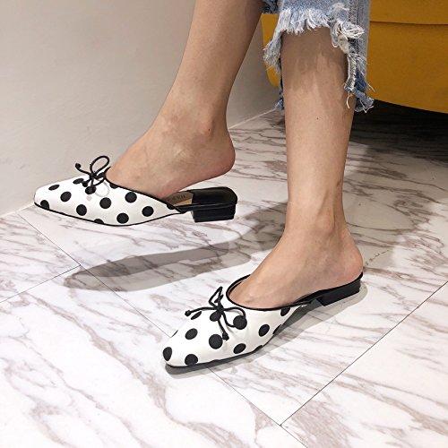 SCLOTHS Sommer Frauen Flip Flops Flache Bow Bow Flache Tie Hälfte ziehen Baotou Wohnung mit Casual Weiß,EIN 82efd9