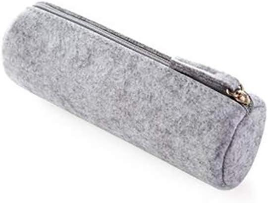 Estuche para lápices, bolsa de papelería redonda, multifunción, bolsa de fieltro, soporte para bolígrafos, bolsa de cosméticos (gris): Amazon.es: Hogar
