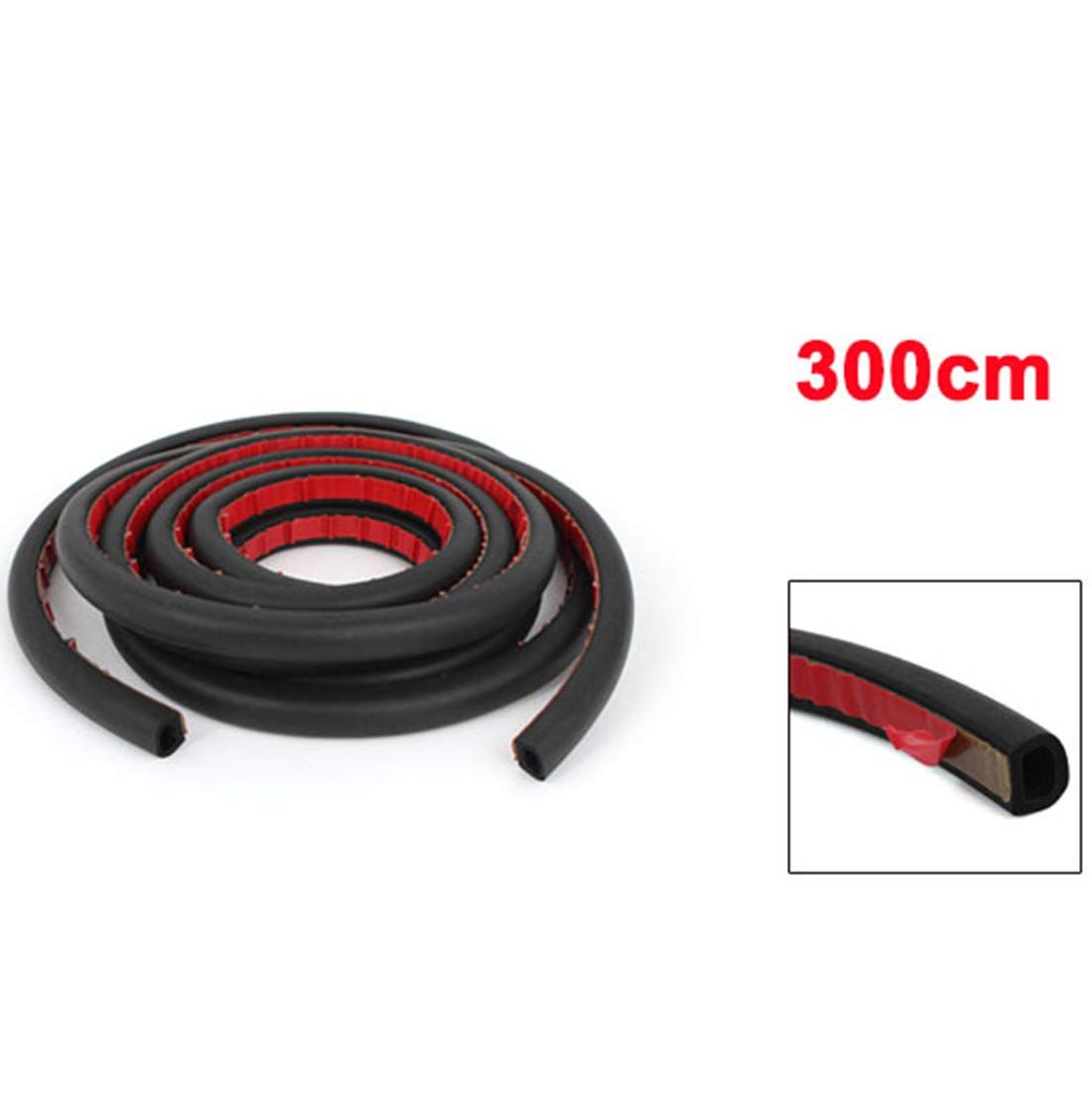 AUTUT 9.8Ft Long D-Shape Door Rubber Seal Strip Self Adhesive Hollow for Car Truck Motor Door Cover Trunk Weatherstrip Soundproofing Engine Cover