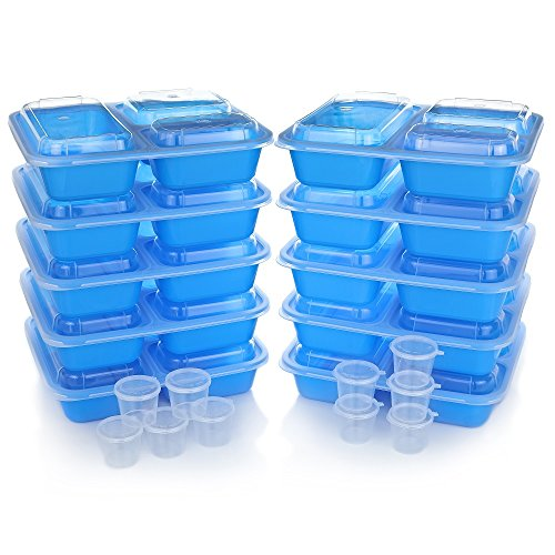 Meal Prep Containers w/ Lids. 10-Pack Reusable 3 Compartment (36 oz) Microwave/Dishwasher Safe. BPA Free Plastic Bento Box Best for Food Storage, Portion Control & Weight Loss. BONUS 10 Sauce - Sauces Food Best Fast