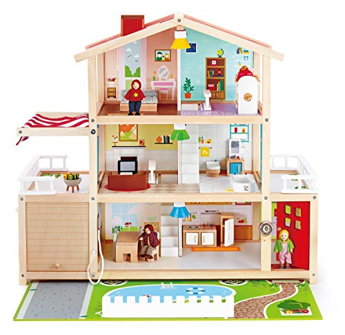 (Hape Doll Family Mansion| Award Winning 10 Bedroom Doll House, Wooden Play Mansion with Accessories for Ages 3+ Years)
