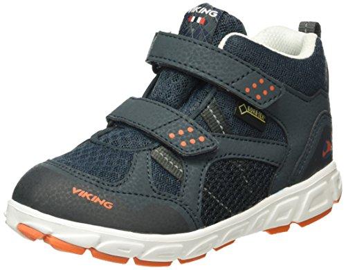 Viking Unisex-Kinder Hobbit Mid Sneaker Blau (Dark Blue/Orange 7631)