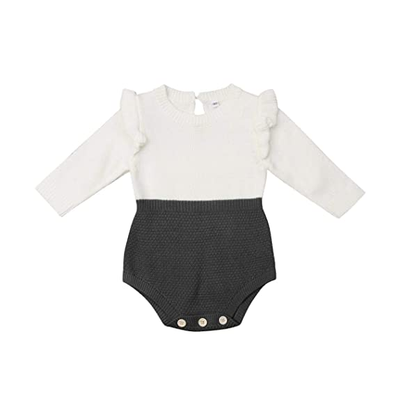 a9424f00363 Amazon.com  Fuior Baby Girls Knitted Romper Ruffle Long Sleeve Sweater  Dress Jumpsuit Autumn Winter Casual Clothing  Clothing