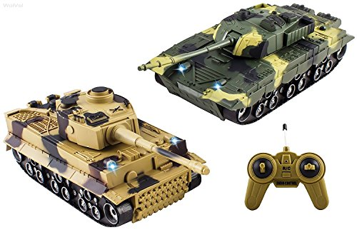 WolVol (SET OF 2) Remote Control Military Combat Fighter Tank Toys with Head Lights and Army Sounds for Kids (Option to turn off sounds while in action) (Remote Control Army Tank)