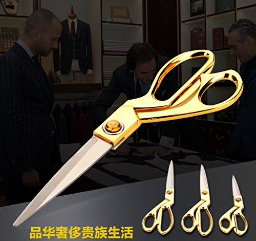 Golden 10.5 Inch Heavy Duty Tailor Scissors; Craft Tailor Sewing Scissors or Dressmaker Shears; Industrial High Carbon Stronger than Stainless Steel; Comfort Grip for Artist, Home, Office (golden) by Xdorra (Image #5)