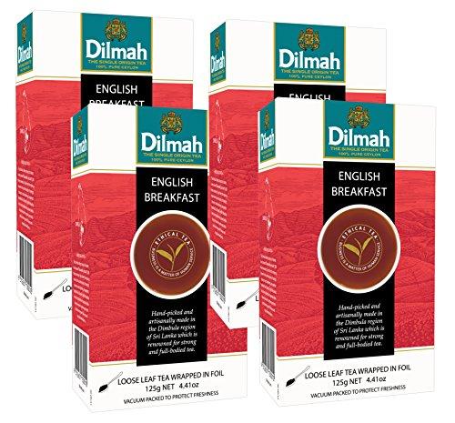Dilmah, Single Region, English Breakfast, Loose Leaf Tea, 125 grams per box (Pack of 4)