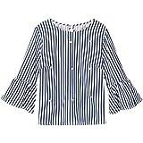 Minisoya Women Casual Striped Tunic Tops T-Shirt Elegant Pearls Beading Shirt Top Loose Flare Sleeve Blouse