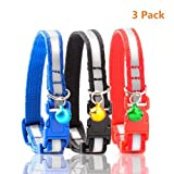 """Peralng 3Pcs Reflective Cat Collar with Bell, Solid & Safe, Best Small Pet Collar, 7.48""""-11.81"""" Adustable Design, Nylon Strip, Mixed Colors, Breakaway Cat Collar for outdoor/indoor, Red Black Blue"""