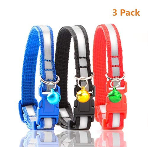 Peralng 3Pcs Reflective Cat Collar with Bell, Solid & Safe, Best Small Pet Collar, 7.48