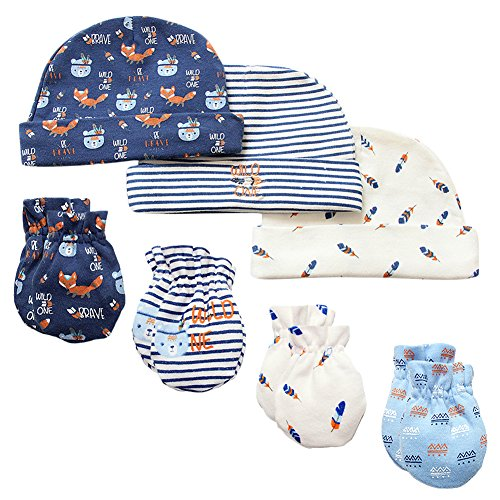 (7 Piece Scratch Mittens and Caps Set Infant Newborn Gift Set For Baby Boys, 0-6 Months )