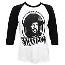 Waylon Jennings Men's '79 Tour Raglan T-Shirt White Black
