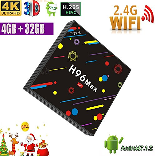 [2018 Version] TV Box, H96 Max 4GB +32GB Smart 4K TV Box Android 7.1 RK3328 Quad Core CPU Wifi Set Top Boxes Support 3D 4K Ultra HD TV by Coolifer