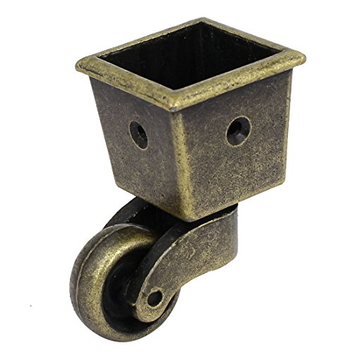 uxcell 1-Inch Wheel Dia Swivel Square Cup Caster Bronze Tone for Chair Table (Kitchen Chair Casters Swivel)