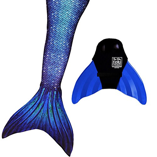 Sun Tails Mermaid Tail + Monofin for Swimming (2- Child L (8/10), Ocean Deep - Blue Monofin)