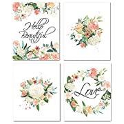 8X10 Unframed Floral Nursery Wall Art Prints for Baby Girl Room Decor, Decorative and Easy to Frame Flower Quotes Shower Bedroom Bathroom Posters Decoration - No Frames & Matt