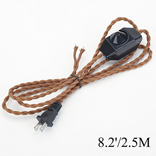 Headlight Lamp Dimmer Switch - Kiven 8.2' Retro Style Lamp Dimmer Weave Rope Open Wires UL Certified Dimmer Switch Cord(Brown)