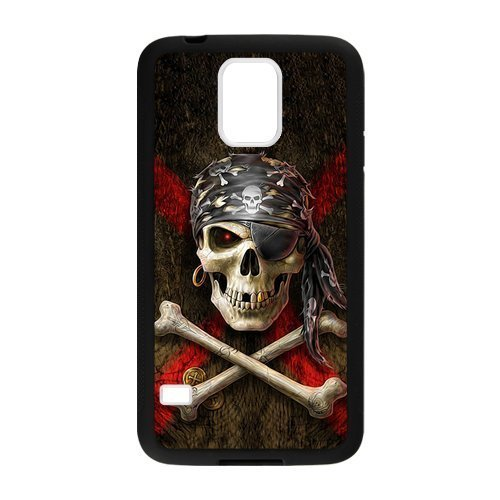 [Samsung Galaxy S5 Case,Cool Pirate Skull & Crossbones Design Cover With Hign Quality Rubber Plastic Protection] (Pirate Cost)