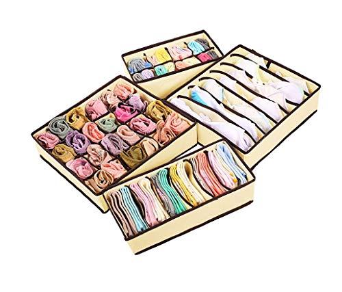 HOOPLE Foldable Organizers, Drawer Storage Boxes, Closet Organizer, Under Bed Organizer 4 Set Simple Houseware (White)
