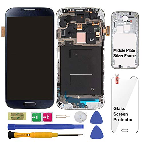 Display Touch Screen (AMOLED) Digitizer Assembly with Frame for Samsung Galaxy S4 (SIV) SGH- I337 (AT&T)/ SGH-M919 (T-Mobile)(for Samsung Mobile Phone Repair Part Replacement) (Black Mist) (T Mobile Samsung Galaxy S4 Screen Replacement)
