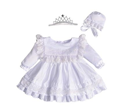 Marlegard Baby Girl Long Sleeve Christening Gown Baptism Dress Bonnet with  Crown Headband (White 2ee2d57facf