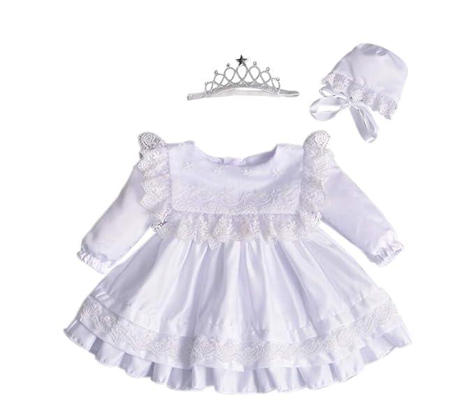 59c0e1e6e Marlegard Baby Girl Long Sleeve Christening Gown Baptism Dress Bonnet with  Crown Headband (White,