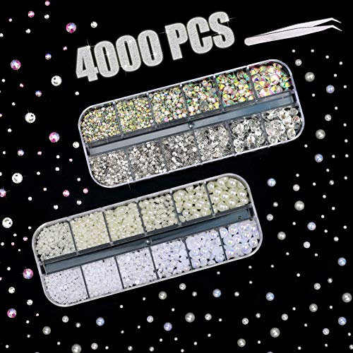 4000 PCS Rhinestones & Pearls for Nail, Flatback Crystal AB Rhinestones and Illusive Pearls in 2 3 4 5 6 mm with Pick Up Tweezer for Girls DIY Craft Face Clothes Shoes Bags Phone Case Arts ()