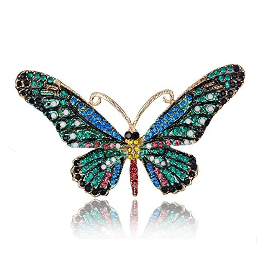 AILUOR Vintage Butterfly Brooch Pin, Colorful Rhinestones Crystal Antique Cute Animal Shape Corsages Scarf Clips Brooches for Women Girls (Style - Butterfly Colorful Pin