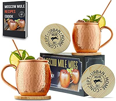 Urban Home Concept Moscow Mule Mugs - Gift Box Set of 2 100% Copper Mugs - Includes Wooden Coasters & Copper Straws