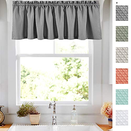 Lazzzy Grey Waffle-Weave Textured Gray Valance for Bathroom Waterproof Kitchen Curtains,60 by 18 Inch, 1 Panel (Kitchen Curtain Valance)