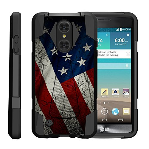 TurtleArmor | Compatible for LG Fortune Case | Phoenix 3 Case | Risio 2 Case [Dynamic Shell] Hybrid Dual Layer Hard Shell Cover Kickstand Silicone Case - American Flag