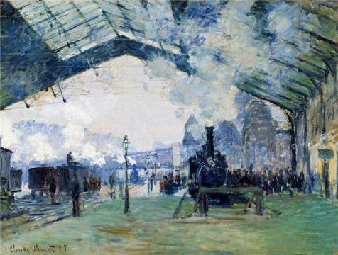 High Quality Polyster Canvas ,the Beautiful Art Decorative Prints On Canvas Of Oil Painting 'Saint-Lazare Station, Exterior View, 1877 By Claude Monet', 18x24 Inch / 46x60 Cm Is Best For (All Project M 35 Costumes)