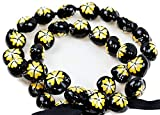 Barbra Collection Hawaiian Style Kukui Nut Lei Hibiscus Flower Hand Painted 32 Nuts