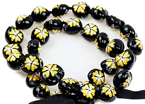Barbra Collection Hawaiian Style Kukui Nut Hand Painted Necklaces 32 Nuts(Yellow Hibiscus Flower)